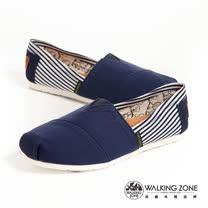 WALKING ZONE (女)條紋側邊 悠閒步伐輕巧國民便鞋女鞋-藍