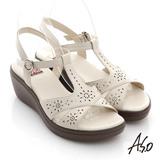 【A.S.O】憶型氣墊 全真皮沖孔鑽飾扣環涼鞋(白)