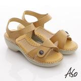 【A.S.O】雙料紓壓 真皮手縫奈米氣墊涼鞋(黃)