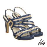 【A.S.O】奢華晚宴 真皮拼接金箔繫帶高跟涼鞋(藍)