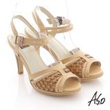 【A.S.O】異域拼盤 渡假感編織高跟涼鞋(卡其)