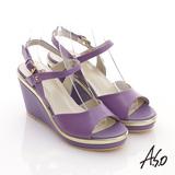 【A.S.O】輕音躍 全真皮素面輕量楔型涼鞋(淺紫)