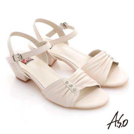 【A.S.O】慵懶旅行 水鑽抓皺綿羊皮低跟涼鞋(米)