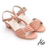 【A.S.O】慵懶旅行 水鑽抓皺綿羊皮低跟涼鞋(粉橘)