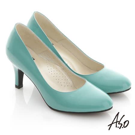 【A.S.O】舒適通勤 亮面百搭泡棉軟墊高跟鞋(綠)