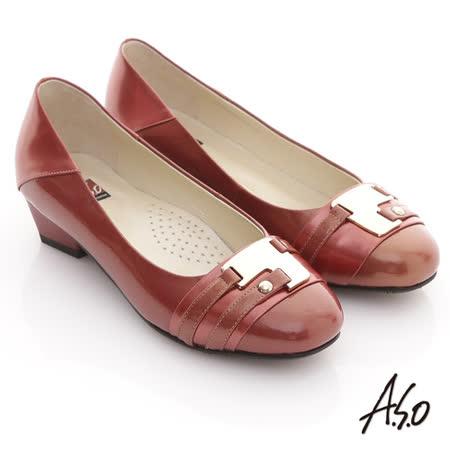 【A.S.O】玩美彈麗 全真皮金屬裝飾鏡面低跟鞋(紅)