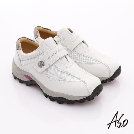 【A.S.O】樂活休閒 摔花牛軟皮透氣網布魔鬼氈休閒鞋(白)