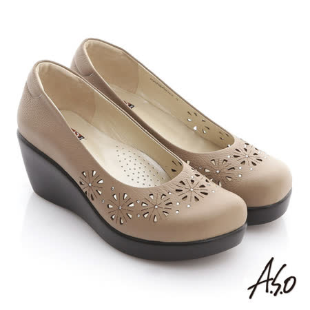 【A.S.O】美型氣墊 全真皮雕花楔型氣墊鞋(卡其)