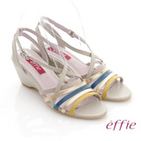 【effie】異域拼盤 全真皮繽紛撞色交叉楔型涼鞋(淺灰)