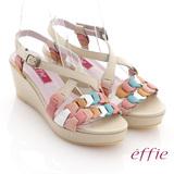【effie】異域拼盤 全牛皮交叉寬楦楔型涼鞋(米)