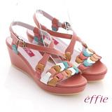 【effie】異域拼盤 全牛皮交叉寬楦楔型涼鞋(橘紅)