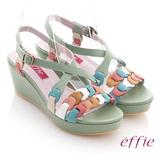 【effie】異域拼盤 全牛皮交叉寬楦楔型涼鞋(淺綠)