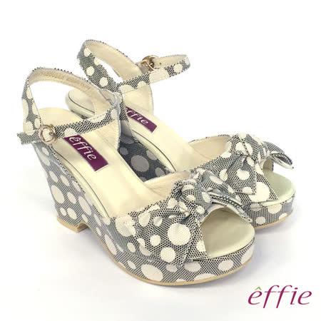 【effie】甜美俏麗 點點蝴蝶結繫帶楔型涼鞋(米)