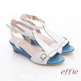 【effie】軟芯系列 真皮軟墊T字楔型涼鞋(白)