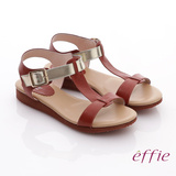 【effie】輕量樂活 金箔真皮厚軟墊T字涼鞋(磚紅)