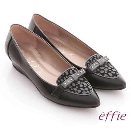 【effie】時尚通勤 全真皮鉚釘蝴蝶尖頭楔型鞋(黑)