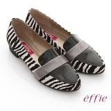 【effie】玩色系列 全真皮拼接斑馬紋平底鞋(白色)