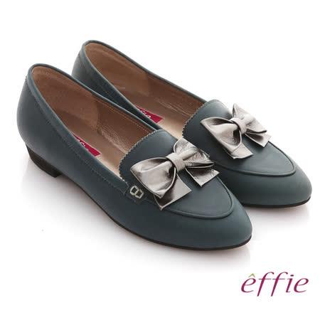 【effie】金屬裝飾 全真皮立體蝴蝶尖頭平底鞋(綠)
