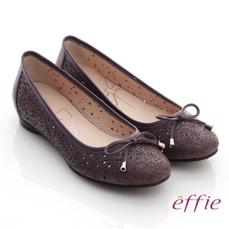 【effie】趣味樂活 全真皮沖孔印花平底鞋(暗紫)