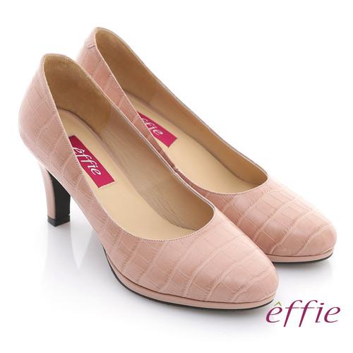 【effie】都會風情 全真皮壓紋舒適通勤跟鞋 粉紅