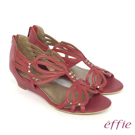 【effie】都會時尚 牛皮蝴蝶線條楔型涼鞋(紅)