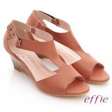 【effie】慵懶旅行 全真皮T字魔鬼氈楔型涼鞋(粉橘)