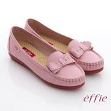 【effie】輕量樂活系列 真皮蝴蝶結車縫線奈米莫卡辛鞋(粉紅)