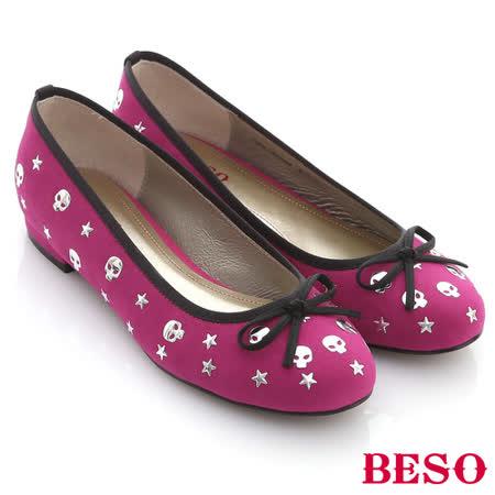 【BESO】樂趣翻玩-霓虹色絨布趣味骷髏頭滿版小跟鞋(桃粉紅)