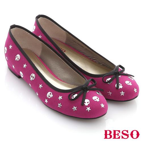 ~BESO~樂趣翻玩~霓虹色絨布趣味骷髏頭滿版小跟鞋^(桃粉紅^)