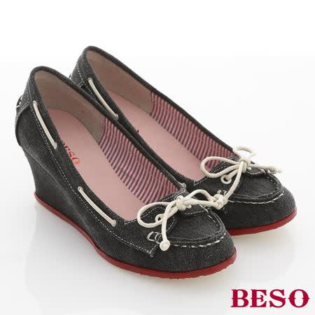 【BESO】花樣年華 單寧布料穿繩蝴蝶結飾楔型鞋(黑)