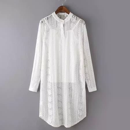 【E . A Runway】歐美時尚蕾絲長板襯衫兩件套EA339