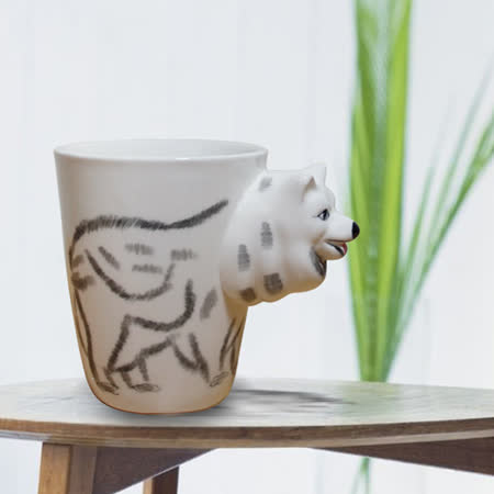 3D動物造型手繪風陶瓷杯- 白狼(350ml)