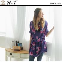 玄太-垂領印花長版上衣(藍紫)