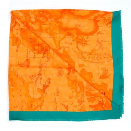 Alviero Martini 義大利地圖包 經典地圖絲巾/M-藍綠邊/亮橘