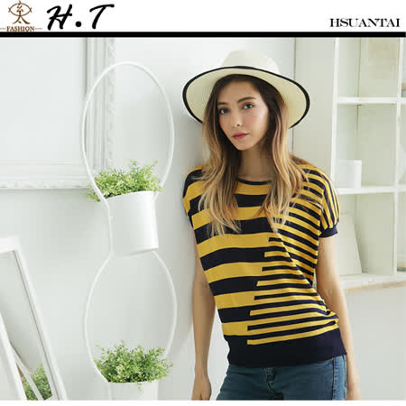 玄太-經典配色織紋連身袖針織上衣(黃)