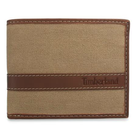 Timberland 新款帆布拼接仿舊證件短夾-卡其色