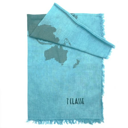 Alviero Martini 義大利地圖包 經典地圖下擺流蘇方巾/L-青色