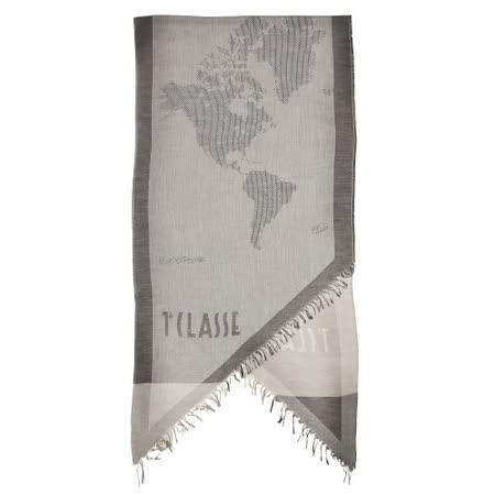 Alviero Martini 義大利地圖包 經典編織地圖下擺流蘇方巾/L-太空灰