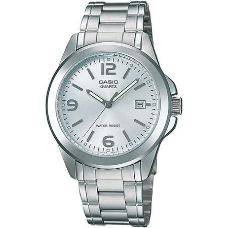 CASIO 品味城市優雅紳士錶-白(MTP-1215A-7A)