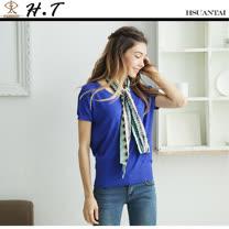 玄太-素雅圓點織紋連身袖針織上衣(藍)