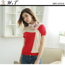 玄太-簡約格紋拼接配色連身袖針織上衣(紅)