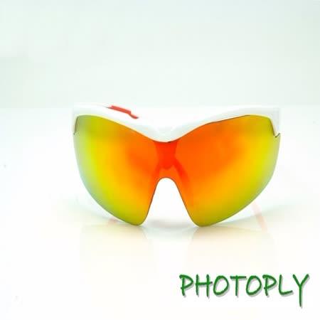 台灣PHOTOPLY防風系列太陽眼鏡,白+防紅外線UV鏡片