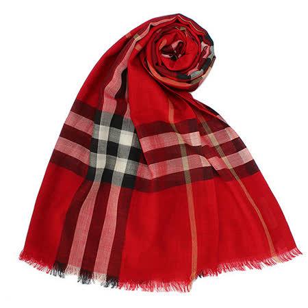 BURBERRY 新款英倫格紋羊毛混絲流蘇圍巾-鮮紅色