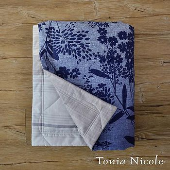 Tonia Nicole東妮寢飾 藍茵葉影環保活性印染精梳棉單人涼被 150x195cm