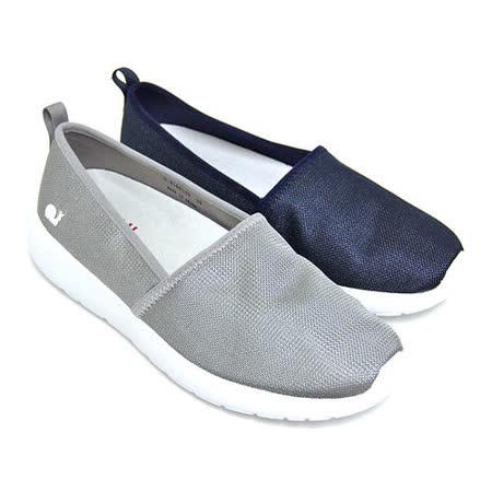 SNAIL蝸牛_簡約潮流極簡素面金屬光澤套入式輕量休閒平底健走鞋(女鞋)