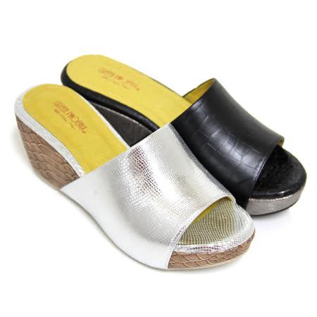 【GREEN PHOENIX】BIS-VITAL 素面幾何壓花義大利羊皮厚底拖鞋