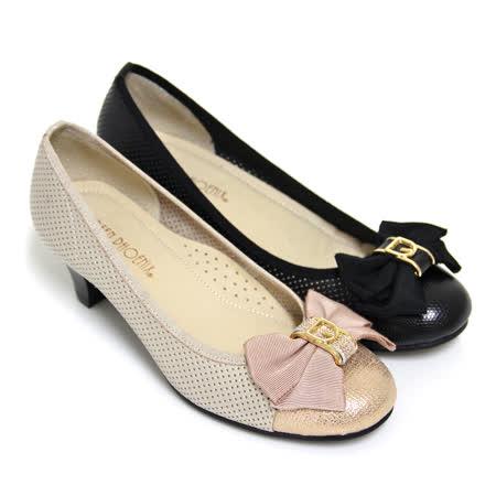 【GREEN PHOENIX】蝴蝶結金屬飾扣全真皮低粗跟包鞋