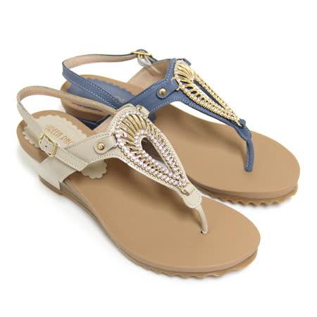 【GREEN PHOENIX】水鑽貝殼全真皮臘感牛皮楔型夾腳涼鞋