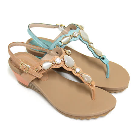 【GREEN PHOENIX】水鑽寶石T型全真皮臘感牛皮楔型夾腳涼鞋