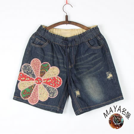 【Maya Collection】m~xl夏季拼布百搭牛仔短褲